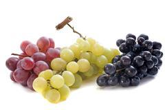 three varieties of grapes - stock photo