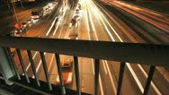 Time Lapse of Car Lights on Night Highway Freeway Stock Footage