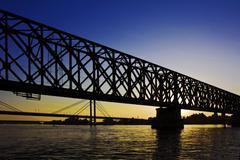 Bridge at sunset Stock Photos
