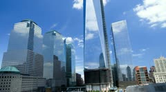 Images of sunlight and shadows reflecting, 1 WTC, 7 WTC, USA, T/Lapse - stock footage