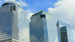 Modern office buildings, Financial District, New York, T/lapse Stock Footage