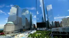 Images of sunlight and shadows reflecting on 1 WTC, T/lapse - stock footage