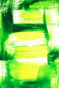Vibrant green and yellow brush strokes - stock illustration
