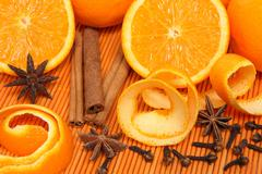 Oranges and spices - stock photo