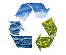 Stock Photo of Recycling sign with images of nature