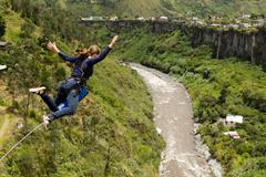 Bungee Jumping Sequence In Banos De Agua Santa Ecuador San Francisco Bridge - stock photo