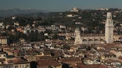 Cityscape, Verona Aerial View Veneto, Church, Italy, Italian Alps, Medieval Town Stock Footage