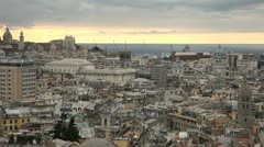 Old Town, Aerial View of Genoa Skyline, Italy, Lantern Landmark, Liguria, Port Stock Footage
