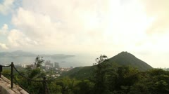 Pan shot from Lamma island to Tsing Yi island at The Peak, Hong Kong Stock Footage