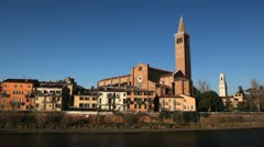 Verona Cityscape, Veneto Area, Church in Italy, Medieval Romantic Old Town Stock Footage