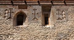 stone wall of david gareja monastery. georgia. - stock photo