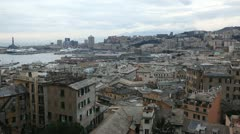 Lantern Landmark, Aerial View of Genoa Skyline, Italy, Liguria, Port, Old Town Stock Footage