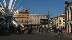 Verona Arena Roman, Veneto Area, Market Square, Medieval Romantic Old Town Stock Footage
