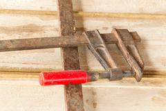 Carpentry Press Mounted On Balsa Planks This Tool Is Used To Keep The Planks In Stock Photos
