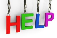 hanged colorful 'help' text - stock illustration
