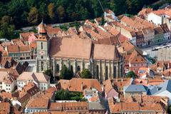 Aerial View Of Darmstadt Black Church Brasov Romania - stock photo