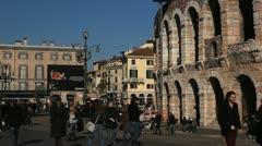 Verona Roman Arena, Veneto Area, Market Square, Medieval Romantic Old Town Stock Footage