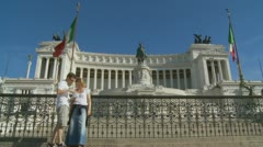 A variety of tourists next to Victor Emmanuel II monument  in Rome2 Stock Footage