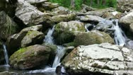 Stock Video Footage of Mountain river flowing down through the rocks.