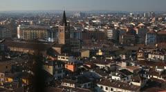 Church, Italy, Italian Alps, Verona Aerial View Cityscape, Veneto, Medieval Town Stock Footage