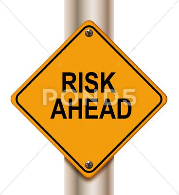 Stock Illustration of risk ahead sign
