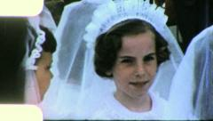 GIRLS CHRISTIAN CONFIRMATION Communion 1960 (Vintage Old Film Home Movie) 5008 - stock footage