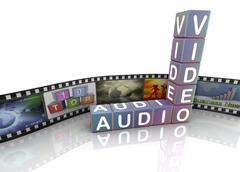 audio video and film reel - stock illustration