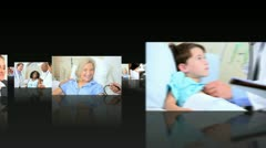 Montage 3D Images of Health Professionals with Patients  Stock Footage