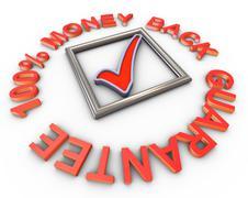 3d 100% money back guarantee - stock illustration