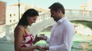 Stock Video Footage of Rich couple getting engaged in Venice