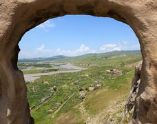 Ruins of the georgian village near 3,000 years old cave city uplistsikhe. geo Stock Photos