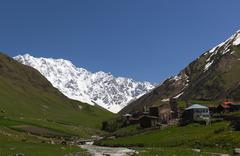 Ushguli - the highest inhabited village in europe. upper svaneti, georgia. Stock Photos