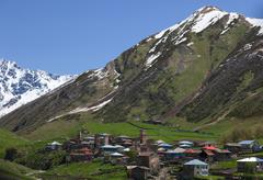 Ushguli - the highest inhabited village in europe. upper svaneti. georgia. Stock Photos