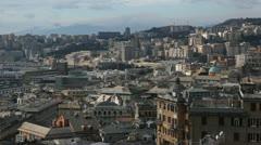 Aerial View of Genoa Skyline, Italy, Lantern Landmark, Liguria, Port, Old Town Stock Footage