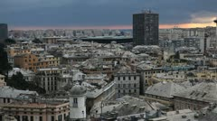 Aerial View of Genoa Skyline, Italy, Lantern Landmark, Liguria, Port, Old Town Stock Footage