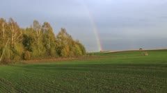 Autumn rainbow landscape and  crop field Stock Footage