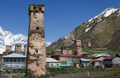 Traditional svan protective towers and houses in ushguli village. svaneti. ge Stock Photos