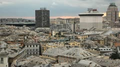 Liguria, Port, Old Town, Aerial View of Genoa Skyline, Italy, Lantern Landmark Stock Footage