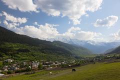 mestia valley. upper svaneti. georgia. - stock photo