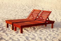 Wooden sunbed Stock Photos