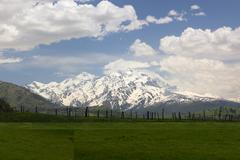 mountains landscape near mestia village. upper svaneti. georgia - stock photo
