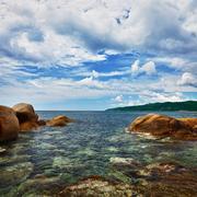 ocean and coastal cliffs - landscape - stock photo