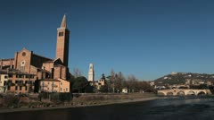 Verona Cityscape, Veneto Area, Church in Italy, Medieval Romantic Old Town Stock Footage
