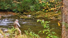 Elderly man fly fishing falling autumn leaves Stock Footage