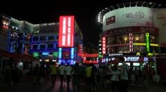 Fast motion, shopping street,night,Shangxiajiu Pedestrian Street,Guangzhou,China Stock Footage
