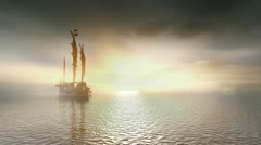 Chinese Junk sailing on a calm sea. Stock Footage