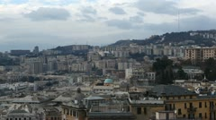 Genoa Skyline, Aerial View of Italy, Lantern Landmark, Liguria, Port, Old Town Stock Footage