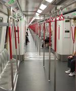 interior of subway (mass transit railway) train. hong kong. - stock photo