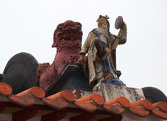 roof detail of pak tai temple.  cheung chau. hong kong. - stock photo