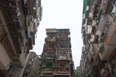 Typical old style blocks of apartments in macau. china. Stock Photos